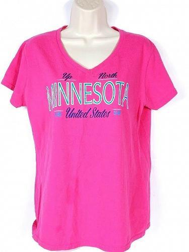 Minnesota United States Women's T-Shirt Large Short Sleeve Pink