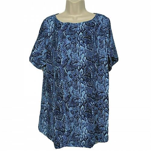 Denim & Co Fit & Flare Knit Tunic Blue Snake Print XL Short Sleeve Boat Neck