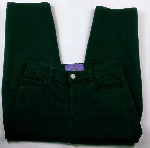 NYDJ Women's Capri Jeans Rhinestone Grommet Size 6 Stretch Dark Wash