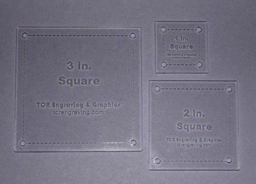 """Square Quilt Templates. 1/8"""" 1"""", 2"""", 3"""". - Clear w/ Guide Line Holes"""