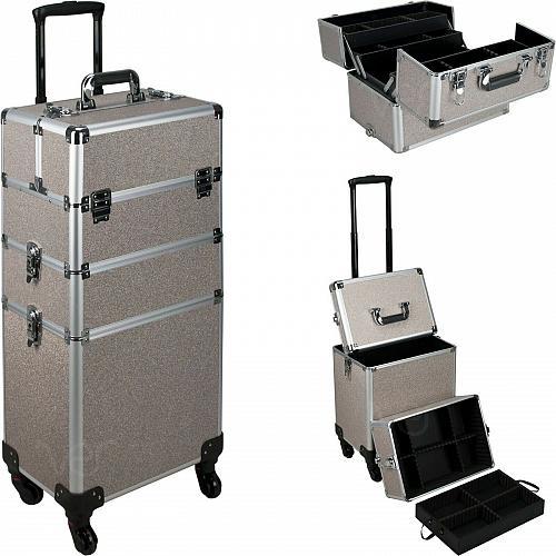 Aluminum Rolling Makeup Case Cosmetic Professional Organizer Trolley Lockable