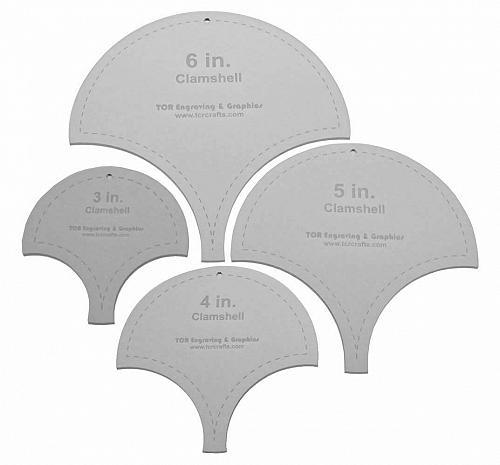 "Clamshell Templates. 4 Piece Set -3"",4"", 5"", 6"". - Clear Acrylic 1/8"""