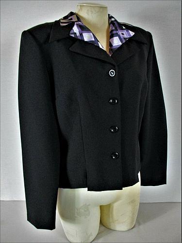 DBY womens Sz 11/12 L/S black REMOVABLE PRINT collar button down jacket (B9)