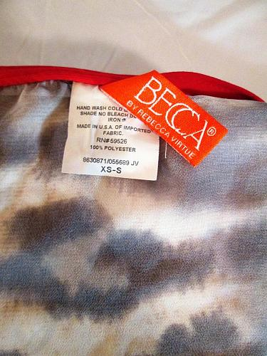 BECCA womens Sz XS S/S BROWN WHITE PLUNGE NECK TIE BACK TOP BLOUSE (D)M