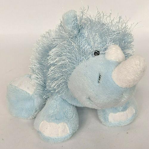 "Ganz Webkinz Blue Rhino Long Hair Plush Stuffed Animal HM196 No Code 12"""