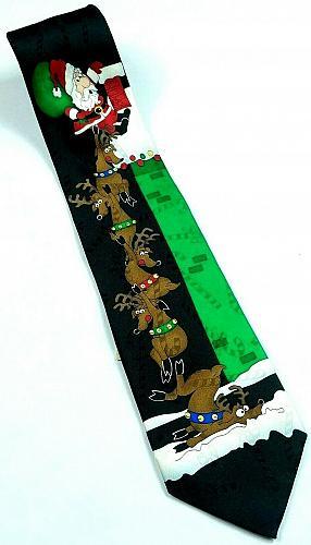 Hallmark Yule Tie Santa Claus Reindeer Climbing Chimney Christmas Funny Silk Tie