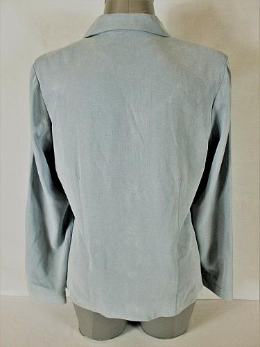 ML & COMPANY womens Medium L/S blue gray FAUX SUEDE button down jacket (A5)