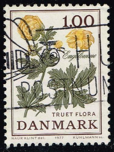 Denmark #609 Globe Flower; Used (3Stars) |DEN0609-01XBC