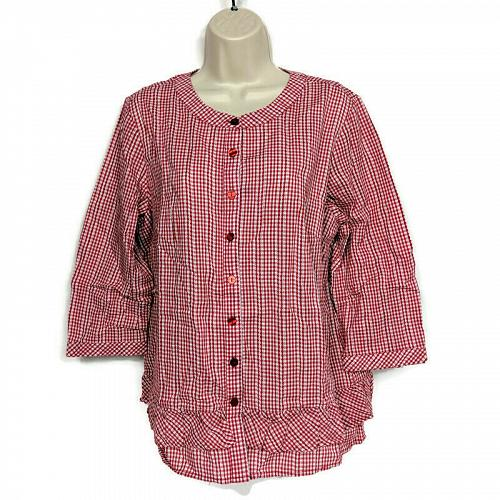 Joan Rivers Womens Gingham Button Front Blouse with Ruffles Size 12 Red White