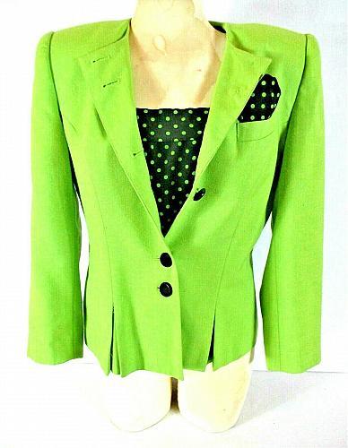 Kasper womens 10P L/S BLACK TANK top button up green jacket 2 piece set (N)PMTD