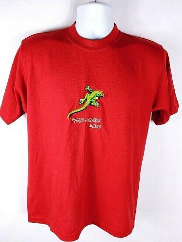 Puerto Vallarta Mexico Iguana Men's T-Shirt XL Graphic Short Sleeve Red
