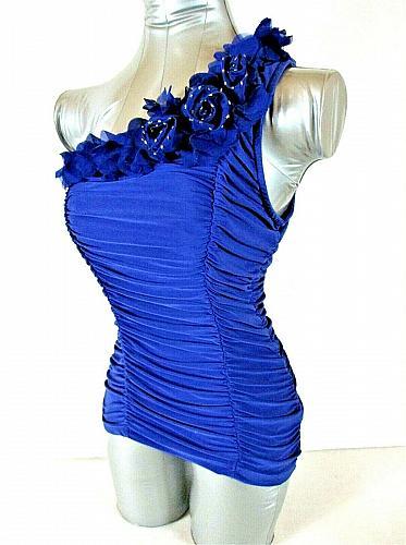 CRESCENDO womens Large one shoulder blue FLOWER TRIM neckline RUCHED top (C3)