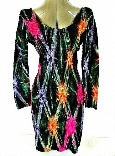 Climate womens Medium 3/4 sleeve green pink purple SCOOP back stretch dress R)PM