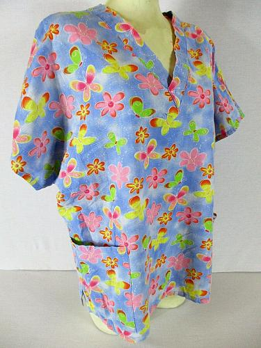 BARCO UNIFORMS womens Large S/S blue pink FLORAL 2 pocket scrub top (O)