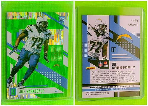 NFL JOE BARKSDALE SAN DIEGO CHARGERS 2017 PANINI UNPARALLELED FOOTBALL RC #95