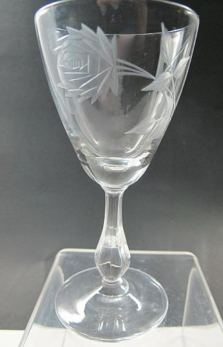 Bryce Cut glass rose patten wine Made in USA Mt Pleasant PA mouth blown