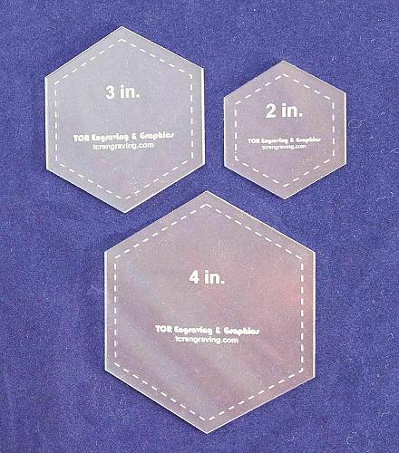 "Hexagon Templates. 2"", 3"", 4"" - Clear 1/8"""