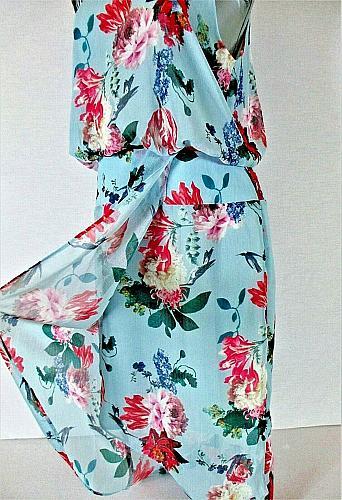 CHELSEA28 womens Sz 10 sleeveless blue FLORAL PRINT fully lined dress NWT (B5)P