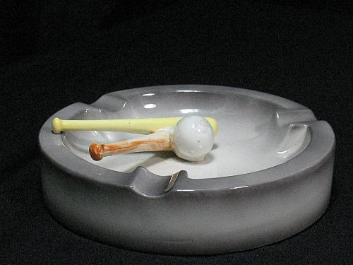 Vintage Porcelain Baseball Bats and Ball Figural Ashtray Snuffer Japan