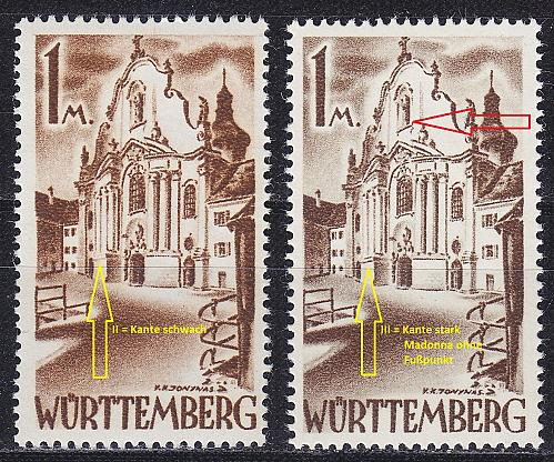 GERMANY Alliiert Franz. Zone [Württemberg] MiNr 0013 yv II,III ( **/mnh ) [01]