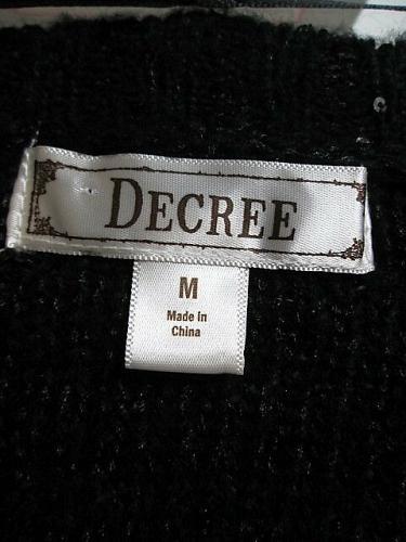 DECREE womens Medium L/S BLACK SEQUINS SHEER BACK V NECK SWEATER (V)P