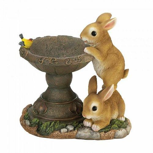 Playful Bunnies Bird Feeder Outdoor Decor Figurine