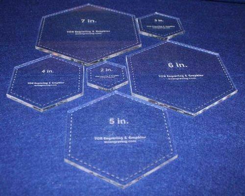 "Hexagon Templates. 2"", 3"", 4"", 5"", 6"", 7"" - Clear ~1/4"""