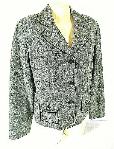 APT 9 womens Sz 16 L/S gray TWEED button down fully LINED jacket (B2)P