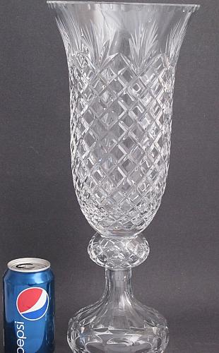 """Hand cut lead Crystal large Award vase, Can be customized 17.5"""""""