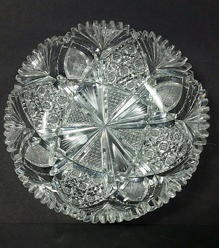 American Brilliant Period hand Cut Glass dish wheel polished sharp ANTIQUE ABP