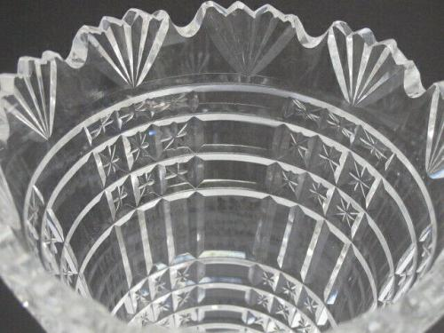Waterford CUT GLASS signed vase footed old cut in Ireland,