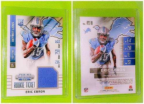 NFL Eric Ebron Detroit Lions 2014 Panini Contenders Rookie Jersey Mint