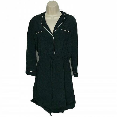 Ann Taylor LOFT Empire Waist Dress XS Black V Neck Long Sleeve Cinch Waist