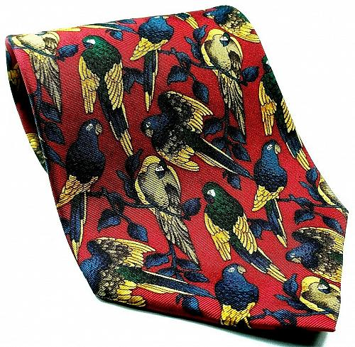 Parrots Perched Tropical Birds Macaws Red Gold Novelty Silk Tie