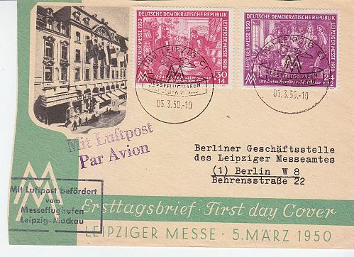 GERMANY DDR [1950] MiNr 0248-49 ( FDC ) [01] Luftpost