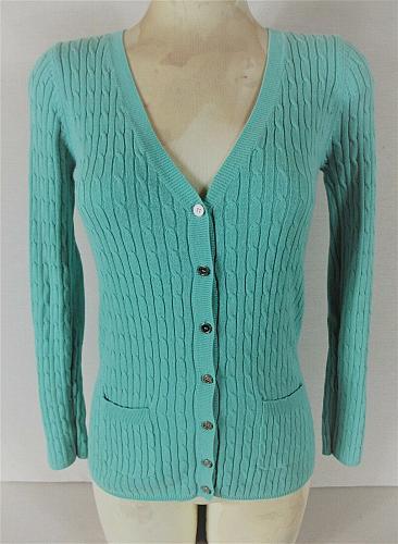 LINK womens Medium L/S blue RIB KNIT button down 2 pocket cardigan sweater (C3)