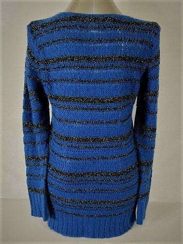 MOTHERHOOD MATERNITY womens Large BLUE BLACK SILVER METALLIC SWEATER (J)P