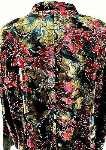 DRESSBARN womens 18W L/S red black GOLD GLITTER faux SUEDE lined jacket (C5)