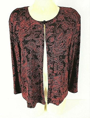 JBS womens M/L ? 3/4 sleeve red black GLITTER paisley STRETCH lined jacket (Y)