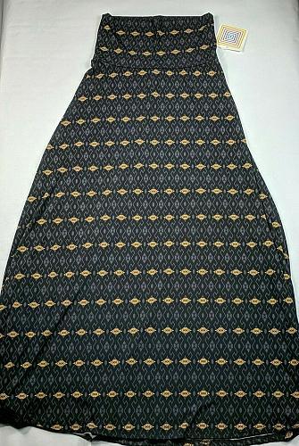 LuLaroe Women's Maxi Skirt Size XXS Black Gold Geometric Pull On Elastic Waist