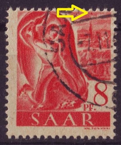 GERMANY Saar [1947] MiNr 0209 PF VI ( O/used ) Plattenfehler