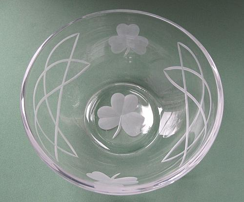 Hand cut glass bowl, Celtic shamrock gift Can be customized