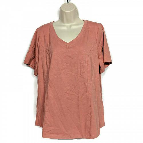 Denim & Co. Womens Essentials Textured Knit Short-Sleeve Top Size Large Pink