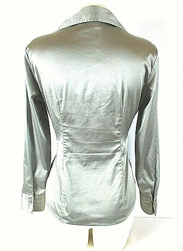 NEW YORK & CO womens Sz 6 L/S gray 2 button CROSSOVER front SIDE zip top (A)