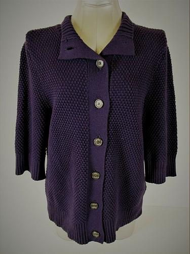 CHAPS womens XL 3/4 sleeve purple CHUNKY button up HEAVY cardigan sweater (A4)P
