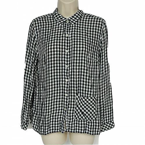 J Jill Petites Button Down Shirt Size Small Black White Gingham Long Sleeve