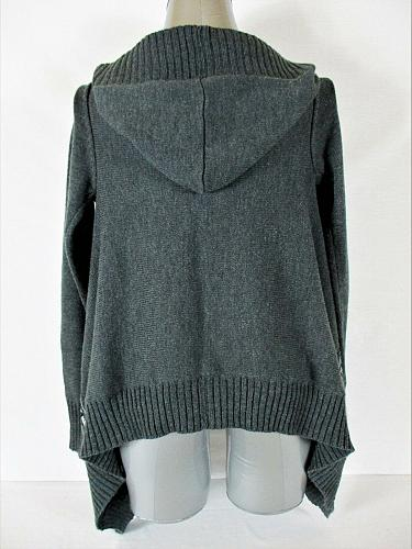 BELLE DU JOUR womens Small L/S gray red black HOODED OPEN cardigan sweater (A3)P