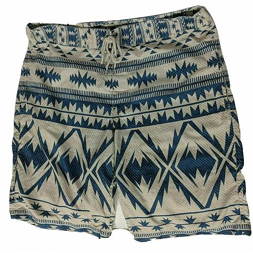 Arizona Jean Co Mens Board Shorts Swimsuit Sz 36 Blue Beige Geometric Drawstring