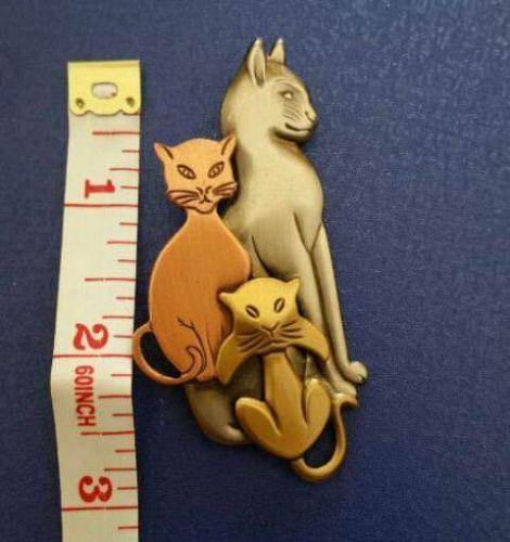 K & T Pewter Cat Brooch in Brass, Copper and Pewter Tones