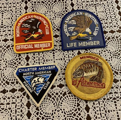 Four Vintage Fisherman North American Fishing Club Hunting Club Member Patches